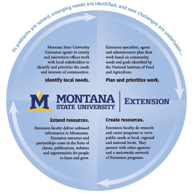 Diagram describes how MSU Extension identifies emerging needs, plans and prioritizes work to support those needs, then creates and extends resources to serve the interests of individuals, families, communities and ag operations, Montanans, across generations across Montana.