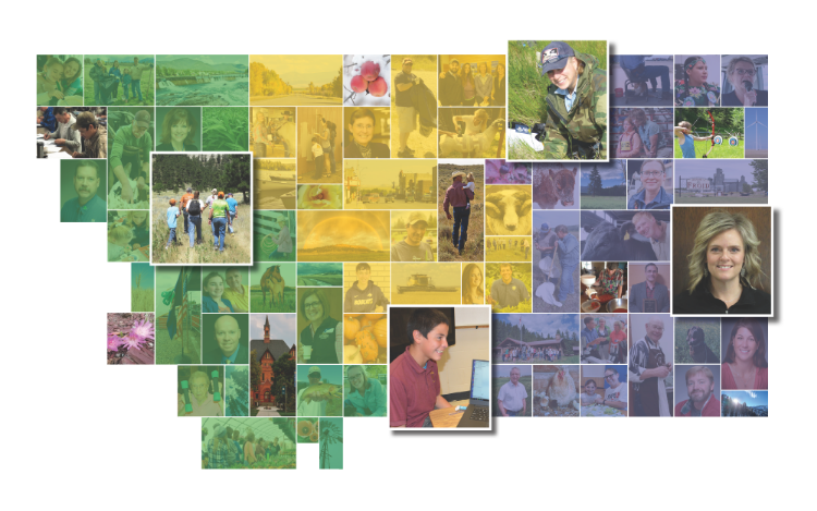 Montana map with small pictures across the state depicting that we serve all types of Montanans, across generations, across Montana. Photos are overlayed with green, blue and gold for decorative purposes.